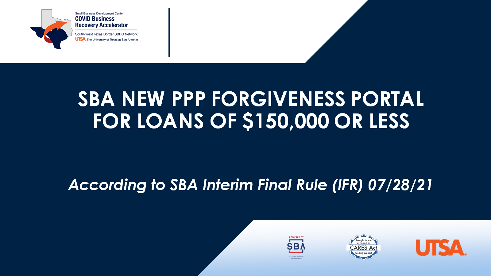 SBA New PPP Forgiveness Portal for Loans of $150,000 or Less